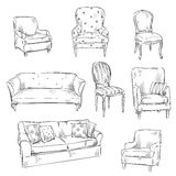 Set of hand drawn chairs and sofas, vector illustration Stock Photography