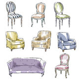 Set of hand drawn chairs and sofas, vector illustration Royalty Free Stock Photos