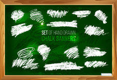 Set of hand drawn chalk banners 1 Stock Image