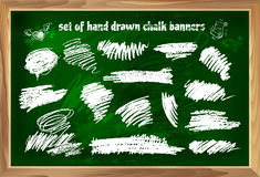 Set of hand drawn chalk banners 2 Royalty Free Stock Photography