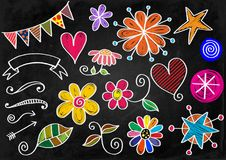 Chalk Board Doodle Shapes. A set of hand drawn chalk doodle designs Royalty Free Stock Image