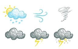 Set of hand drawn chalk stylized weather icons Stock Photography