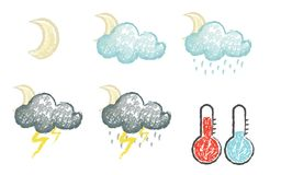 Set of hand drawn chalk stylized weather icons Stock Images