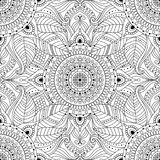 Black and white oriental seamless pattern. Tribal vintage ethnic seamless pattern with floral mandala. Black and white oriental ornament, boho gypsy style royalty free illustration
