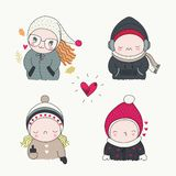 Set of hand drawn characters with different emotions. A cute children, set of hand drawn characters with different emotions, cartoon art, vector illustration vector illustration