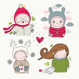 Set of hand drawn characters with different emotions. Set of hand drawn cute characters children with different emotions - happy, sad, cartoon art, vector art stock illustration