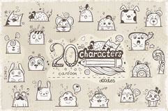 Set of 20 hand-drawn characters in doodles stock illustration