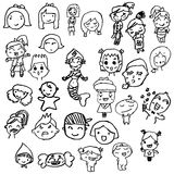 Set of hand drawn characters written by kids Royalty Free Stock Image