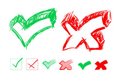 Set of hand-drawn check marks Royalty Free Stock Photo