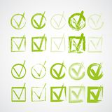 Set of hand-drawn check marks, grunge checkmarks Stock Images