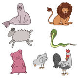 Wild animals. Set of hand drawn childish animals Royalty Free Stock Photography