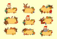 Set Of Hand Drawn Christmas Banners Empty For Text Winter Holiday Decorations Collection. Vec Royalty Free Stock Photos