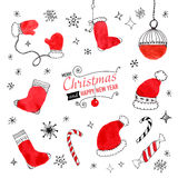 Set of hand drawn Christmas doodles for design Stock Images
