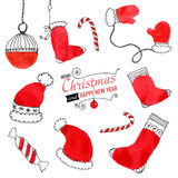 Set of hand drawn Christmas doodles for design Royalty Free Stock Photography