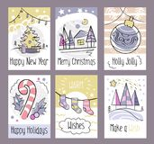 Set of hand drawn Christmas greeting cards. Happy New Year. Merry Christmas. Holly Jolly. Happy Holidays. Warm wishes. Make a wis stock illustration