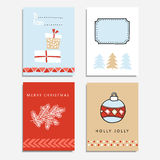 Set of hand drawn christmas greeting, journal cards,  Stock Photography