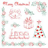Set of hand drawn Christmas objects Stock Photo