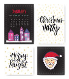 Set of hand drawn Christmas party and New year greeting cards. Handwritten lettering. Vector design element for invitations decora Royalty Free Stock Image