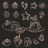 Set of hand drawn Christmas sweets, cakes and drinks royalty free stock images