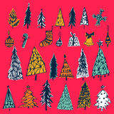 Set of hand drawn christmas tree, bell, gift, candy,balls on red background. Holiday decoration isolated elements. Vector illustra Stock Photo