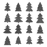 Set of hand drawn christmas trees Stock Images