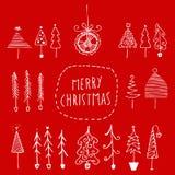 Set of hand drawn Christmas trees Stock Photos