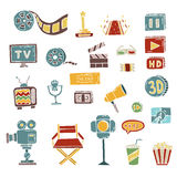Set of hand drawn cinema doodles Royalty Free Stock Image