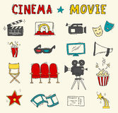 Set of hand drawn cinema icons. Cinema hand drawn colorful icons . Set with clapperboard, camera, chairs, award, film strip, popcorn ticket and others. Vector Royalty Free Stock Photo