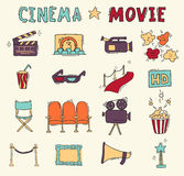 Set of hand drawn cinema icons Stock Photo