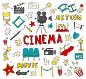 Set of hand drawn cinema icons. Cinema hand drawn colorful icons isolated. Set with clapperboard, camera, chairs, award, film strip, popcorn ticket and others Stock Photography