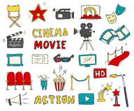 Set of hand drawn cinema icons. Cinema hand drawn colorful icons isolated. Set with clapperboard, camera, chairs, award, film strip, popcorn ticket and others Stock Photos