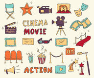 Set of hand drawn cinema icons. Cinema hand drawn colorful icons isolated. Set with clapperboard, camera, chairs, award, film strip, popcorn ticket and others Stock Photo