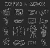 Set of hand drawn cinema icons Royalty Free Stock Photos