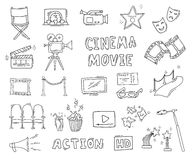 Set of hand drawn cinema icons Royalty Free Stock Image