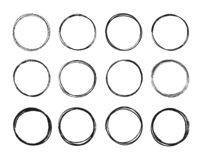 Set hand drawn circle line sketch set. Circular scribble doodle round circles for message note mark design element. Vector illustration on green background stock illustration