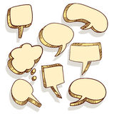 Set of hand drawn circles and bubble speech. Stock Photography