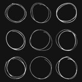 Set of hand drawn circles on grey background royalty free illustration