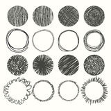 Set of hand drawn circles. Vector design elements Stock Photos
