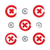 Set of hand-drawn close icons scanned and vectorized, collection Royalty Free Stock Photography