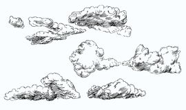 Set of hand drawn clouds. Stock Photos