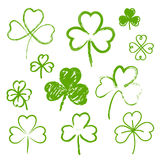 Set of hand drawn clovers Stock Photos