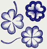 Set of hand drawn clovers Stock Photo