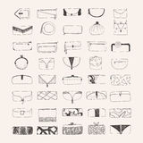 Set of hand drawn clutches and purses on beige background. Decorated handbags with different shapes and decoration. Metod. Sketch hand made illustration for royalty free illustration