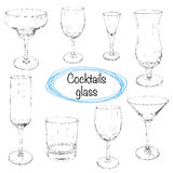 Set of hand drawn cocktail glass. Sketch  illustration. Royalty Free Stock Photo