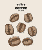 Set of hand drawn coffee beans Stock Images