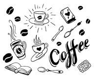 Set of hand drawn coffee theme elements Stock Image