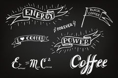 Set of hand drawn coffee theme elements Royalty Free Stock Photography