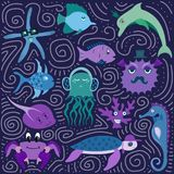 Set of hand-drawn color amusing marine animals and fishes. For design Stock Image