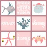 Set of hand-drawn color amusing marine animals and fishes. For design Stock Images