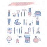 Set hand drawn color icons cosmetics. Stock Image
